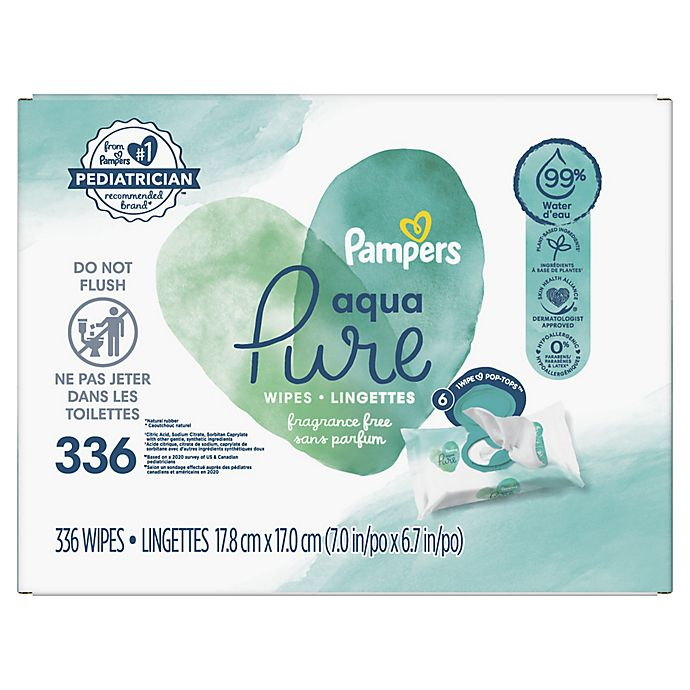 Alternate image 1 for Pampers® 336-Count Aqua Pure Baby Wipes