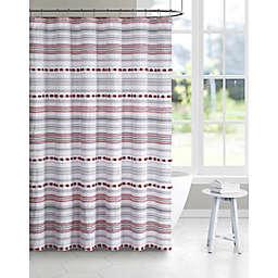 Jade + Oake 72-Inch x 72-Inch Teagan Tufted Stripe Shower Curtain in Red
