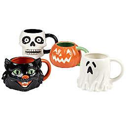 Certified International Scaredy Cat 4-Piece 3-D Mug Set