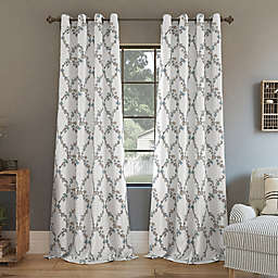 Clean Window® Embroidered Vine Floral Anti-Dust Grommet Window Curtain Panel