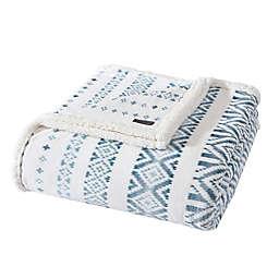 Eddie Bauer® Mountain Village Ultra Soft Plush Fleece Reversible Twin Blanket in Chambray Blue