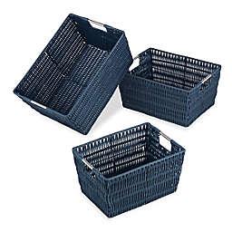 Whitmor 3-Piece Storage Basket Set in Navy