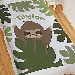Jolly Jungle Sloth 60-Inch x 80-Inch Fleece Baby Blanket in Green