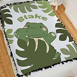 Jolly Jungle Gator Tie Baby Blanket in Green