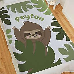 Jolly Jungle Sloth Sweatshirt Baby Blanket in Green