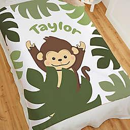 Jolly Jungle Monkey 80-Inch Sherpa Baby Blanket in Green