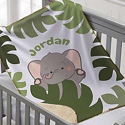Jolly Jungle Elephant Sherpa Baby Blanket in Green