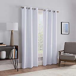 "Talisa 95"" Absolute Zero Draftstopper Fleece Lined Grommet Window Curtain Panel Pair in White"