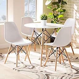 Baxton Studio Klaus 5-Piece Dining Set in White