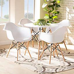 Baxton Studio Trista 5-Piece Dining Set in White