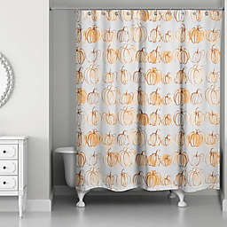 Designs Direct® 71-Inch x 74-Inch Watercolor Doodle Pumpkins Shower Curtain in Orange