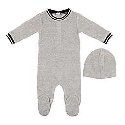 HannaKay, By Maniere 2-Piece Sporty Stripe Footie and Faux Fur Pom Hat Set in Grey