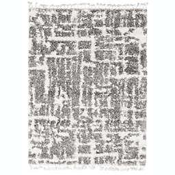 ECARPETGALLERY Grammercy Urban Shag 6'7 x 9'6 Area Rug in Cream/Dark Grey