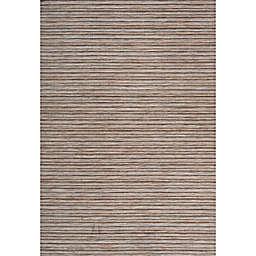 "JONATHAN Y Fin Modern Pinstripe 8'9"" x 12' Area Rug in Jute/Brown"
