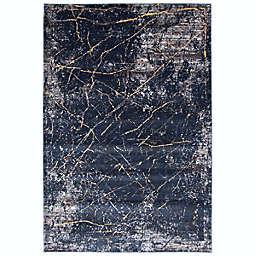 ECARPETGALLERY Midnight Marble 8' x 10' Area Rug in Dark Blue