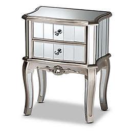Baxton Studio Tor 2-Drawer Mirrored Glass Nightstand in Silver
