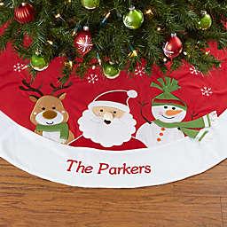 Santa Claus Lane Embroidered Christmas Tree Skirt