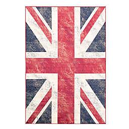 ECARPETGALLERY Union Jack 2'6 x 4'9 Accent Rug in Dark Navy/Dark Red