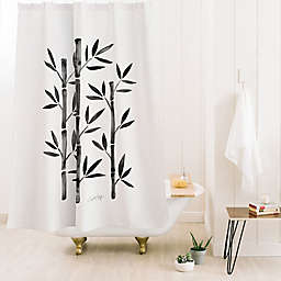 Deny Designs Cat Coquillette Black Bamboo 71-Inch x 74-Inch Shower Curtain in Black/White