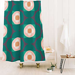Deny Designs 71-Inch x 74-Inch Flower Shapes Shower Curtain in Pink/Green