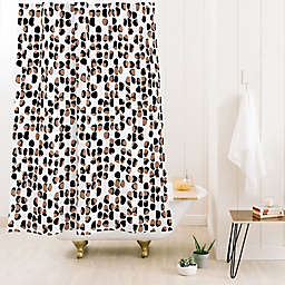 Deny Designs Wagner Campelo Rock Dots Standard Shower Curtain in Black/White