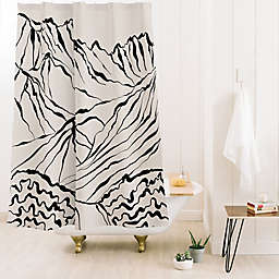 Deny Designs Alisa Galitsyna Mountains 71-Inch x 74-Inch Shower Curtain in Black/White