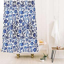 Deny Designs Schatzi Blue Mex City Flower 71-Inch x 74-Inch Shower Curtain in Blue