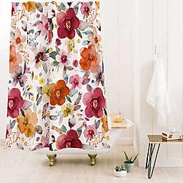 Deny Designs Ninola Design Bountiful Bouquet 71-Inch x 74-Inch Shower Curtain in Red