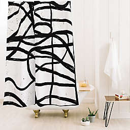 Deny Designs Ninola Design Japandi Minimal 71-Inch x 74-Inch Shower Curtain in Black/White