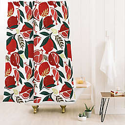 Deny Designs Avenie Pomegranates Pattern 71-Inch x 74-Inch Shower Curtain in Red
