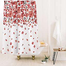 Deny Designs Ninola Design Prairie Flowers 71-Inch x 74-Inch Shower Curtain in Red