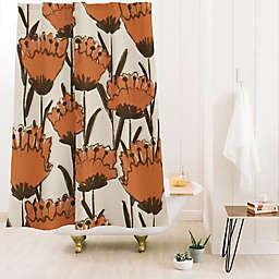 Deny Designs Alisa Galitsyna Poppies 71-Inch x 74-Inch Shower Curtain in Orange