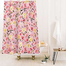 Deny Designs Ninola Design Fresh Flowers 71-Inch x 74-Inch Shower Curtain in Pink