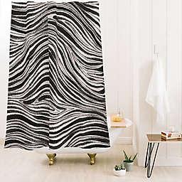 Deny Designs Alisa Galitsyna Irregular Lines 71-Inch x 74-Inch Shower Curtain in Black/White