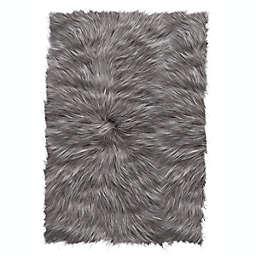 ECARPETGALLERY Faux Sheepskin Plush 2' x 3' Accent Rug in Grey