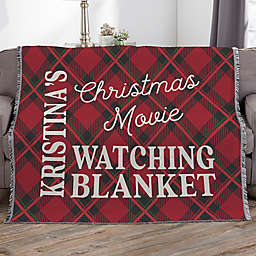 Christmas Movie Watching Personalized 56-Inch x 60-Inch Woven Throw