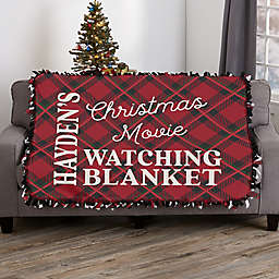 Christmas Movie Watching Personalized 50-Inch x 60-Inch Tie Blanket