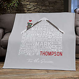 Christmas Family House Personalized 50-Inch x 60-Inch Sweatshirt Blanket