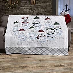 Polar Bear Family Personalized 50-Inch x 60-Inch Sweatshirt Blanket