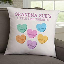 Grandma's Sweethearts Velvet 18-Inch Square Throw Pillow in White/Multi