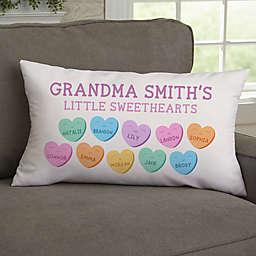 Grandma's Sweethearts Velvet Lumbar Throw Pillow in White/Multi