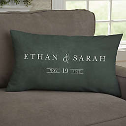 Moody Chic Personalized Wedding Rectangle Throw Pillow