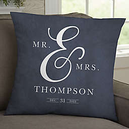 Moody Chic Personalized Wedding Throw Pillow