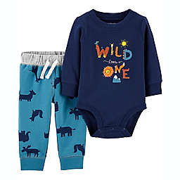 carter's® 2-Piece Wild One Long Sleeve Bodysuit and Pant Set in Blue