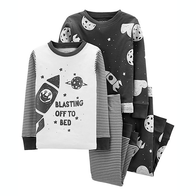 Alternate image 1 for carter's® 4-Piece Space 100% Snug Fit Cotton PJs in Grey