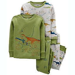 carter's® 4-Piece Dinosaur 100% Snug Fit Cotton PJs in Green