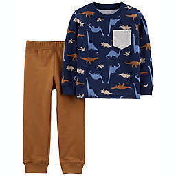 carter's® Size 12M 2-Piece Dinosaur Jersey Tee and Jogger Set in Blue/Brown