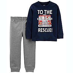 carter's® Size 12M 2-Piece Firetruck Jersey Tee and Pant Set in Navy