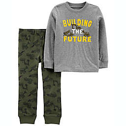 carter's® 2-Piece Building the Future Jersey Tee and Camo Pant Set in Grey