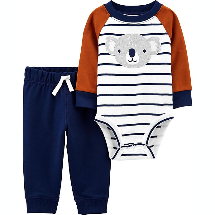 Alternate image 1 for carter's® 2-Piece Striped Koala Long Sleeve Bodysuit and Pant Set in Brown